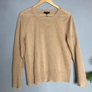 J Crew Gold Glitter Sparkly Pullover Sweater  M